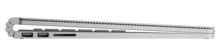 Microsoft Surface Book Profile photo showing Dynamic Fulcrum Hinge and USB ports as well as air gap for full travel keys